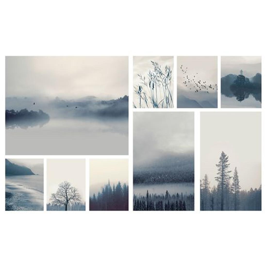 Картина, 9 шт., Пейзаж в синих тонах, 179x112 см ГРОНБИ [504.369.38] 504.369.38