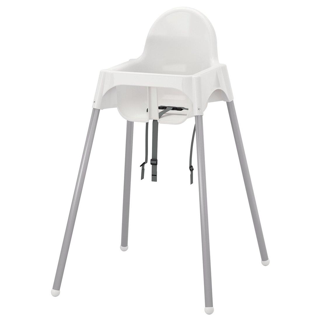 Высок стульчик с ремн безопасн, белый, серебристый АНТИЛОП [192.193.67] 192.193.67