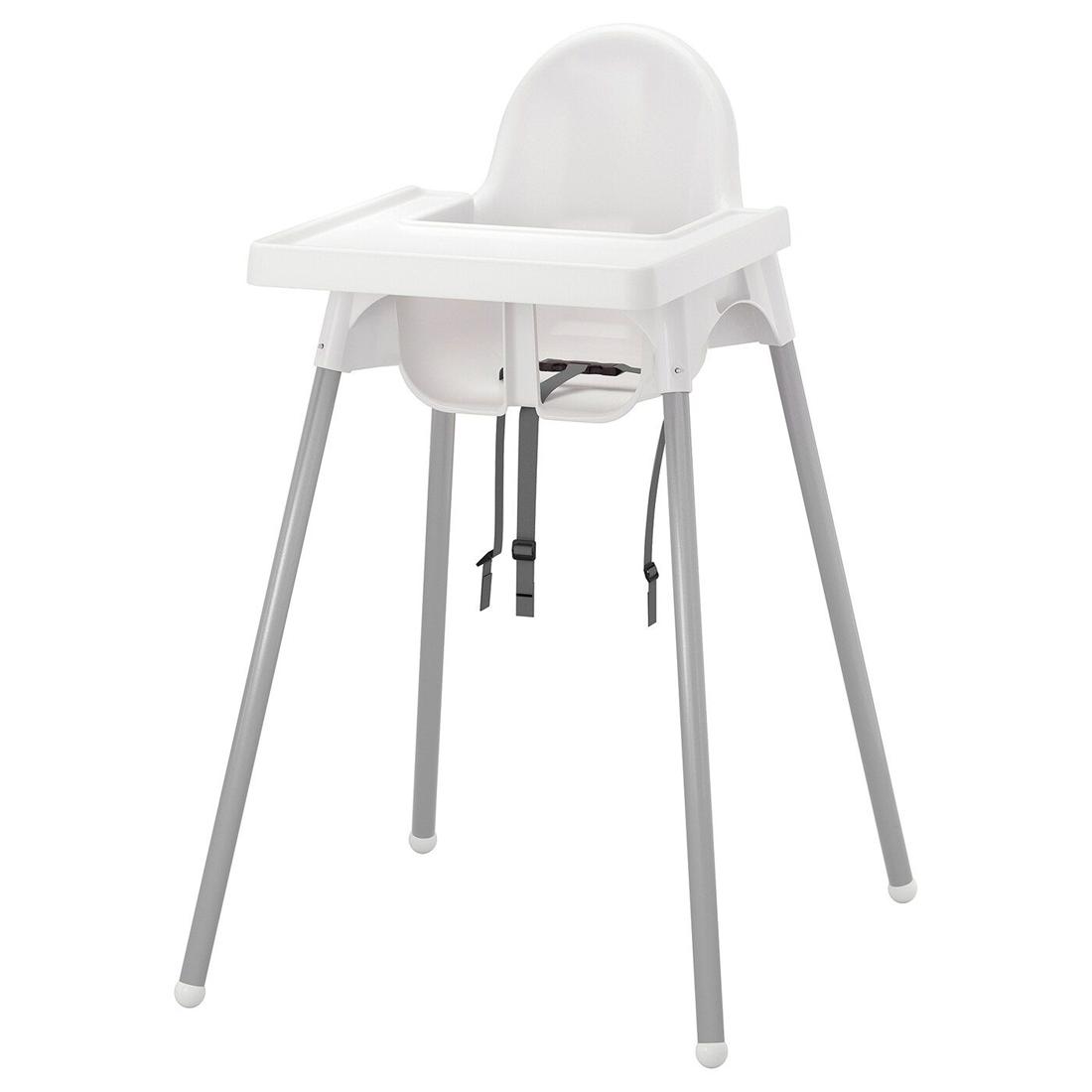 Высокий стульчик со столешн, белый серебристый, серебристый АНТИЛОП [992.193.68] 992.193.68